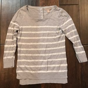 Silver and white striped linen sweater